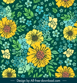 floral pattern template luxuriant colorful classic handdrawn design