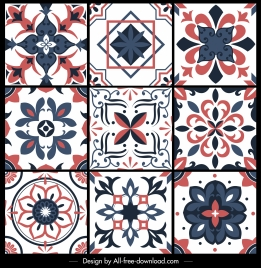 floral pattern templates retro european flat symmetric decor