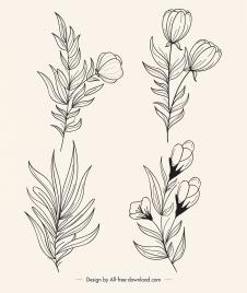 floral plants icons black white handdrawn outline