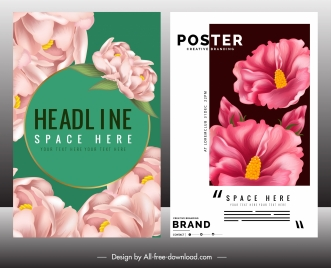 floral poster template modern bright petals decor