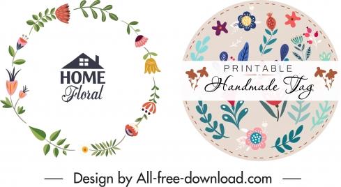floral tag logo templates elegant flat circle design