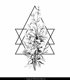 floral tattoo template black white handdrawn sketch