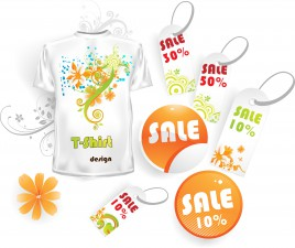 Floral t-shirt and sale tags