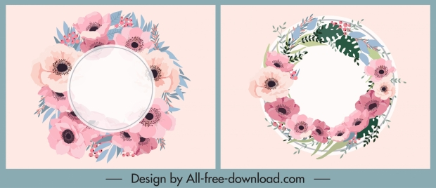 floral wreath icons colored classic flat design