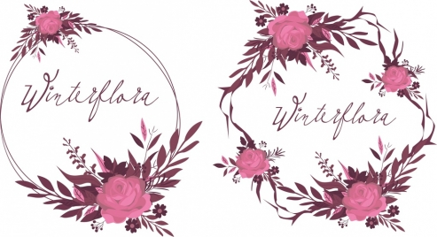 Floral Wreath Icons Pink Flowers Decor Classical Design