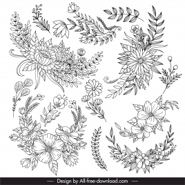 floras leaf icon black white lineart design