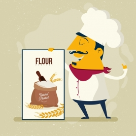 flour advertising male cook icon colored cartoon
