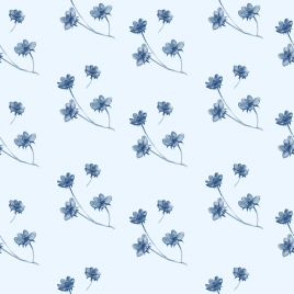 flower background blue decor repeating icons