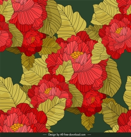 flower background colorful classical handdrawn sketch