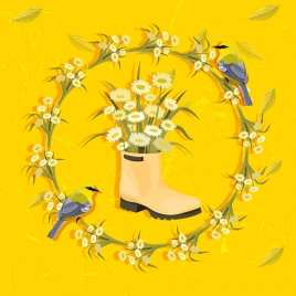 flower background wreath boot bird icons yellow classic