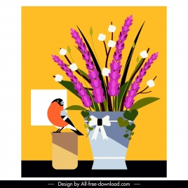 flower bird painting colored classical flat design
