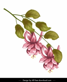 flower branch painting colored classical design