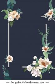 flower frame background template dark elegant retro design