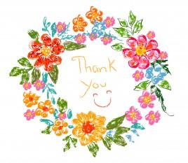 flower frame thank you card