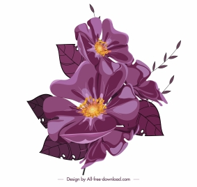flower icon classic shiny violet design