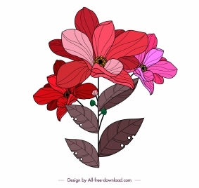 flower icon colored classical handdrawn sketch