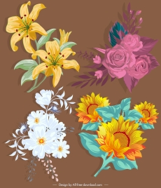 flower icons colored retro design