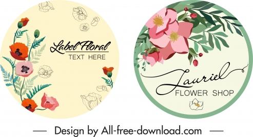 flower label templates elegant colorful decor circle design