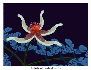 flower painting 3d decor dark colored design