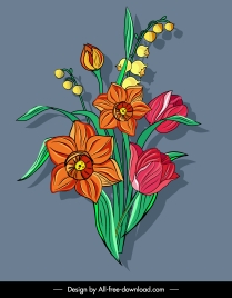 flower painting blooming sketch colorful classical design