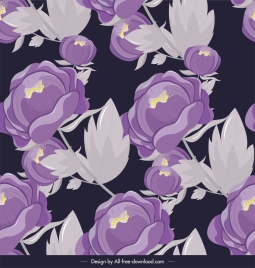 flower painting classical violet grey decor