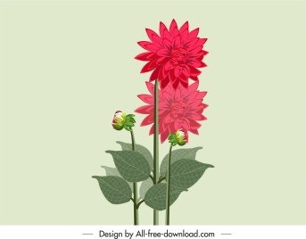 flower painting colored classic sketch