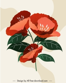 flower painting colored retro design