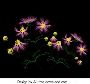 flower painting dark colorful blooming sketch
