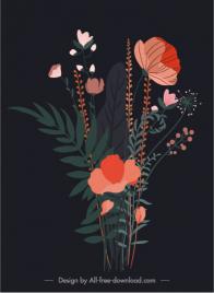 flower painting dark retro design