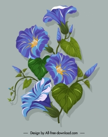 flower painting green violet decor classical design