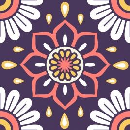 flower pattern closeup colorful flat symmetric ornament