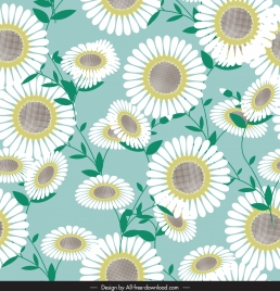 flower pattern template bright colored classical sketch