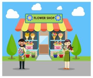 flower shop vector illustration in a flat style