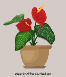 flowerpot icon colored classic flat sketch