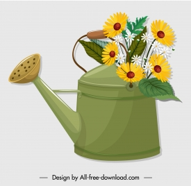 flowerpot icon showering pot sketch classical design