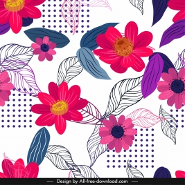 flowers background colorful floras leaves sketch classical design