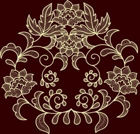 flowers background dark brown design classical symmetry