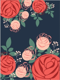 flowers background multicolored rose icons decoration