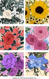 flowers backgrounds colored classical closeup handdrawn sketch
