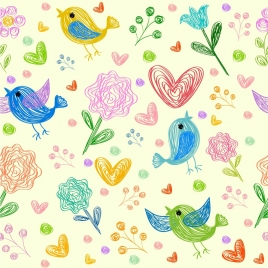 flowers birds hearts background colorful hand drawn design