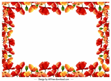 flowers border template colorful blooming decor