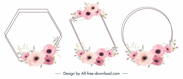 flowers border templates elegant classical decor geometry design