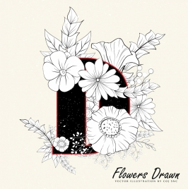 flowers drawing classical handdrawn sketch