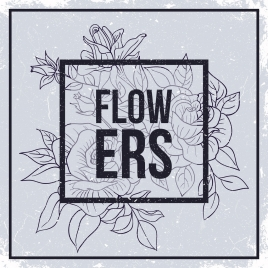 Flowers black and white vectors stock for free download about 25 flowers drawing retro black white sketch mightylinksfo