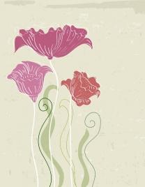 flowers drawing retro handdrawn sketch