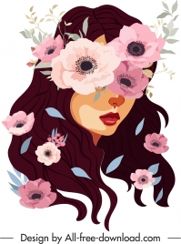flowers girl painting hidden face sketch