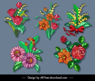flowers icons colorful classical design