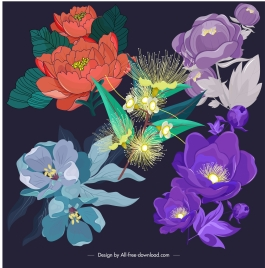 flowers icons dark colorful classical design