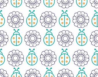 flowers insects pattern sketch colored repeating decoration