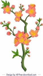 flowers painting cherry blossom icon classical colorful design